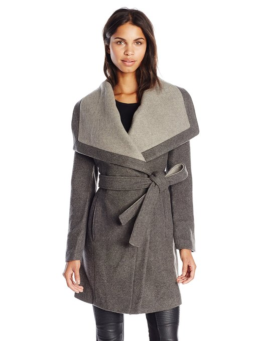 Charcoal Women's Wool Wrap Coat