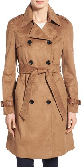 Women's Double Breasted Faux Suede Trench Coat Via Spiga
