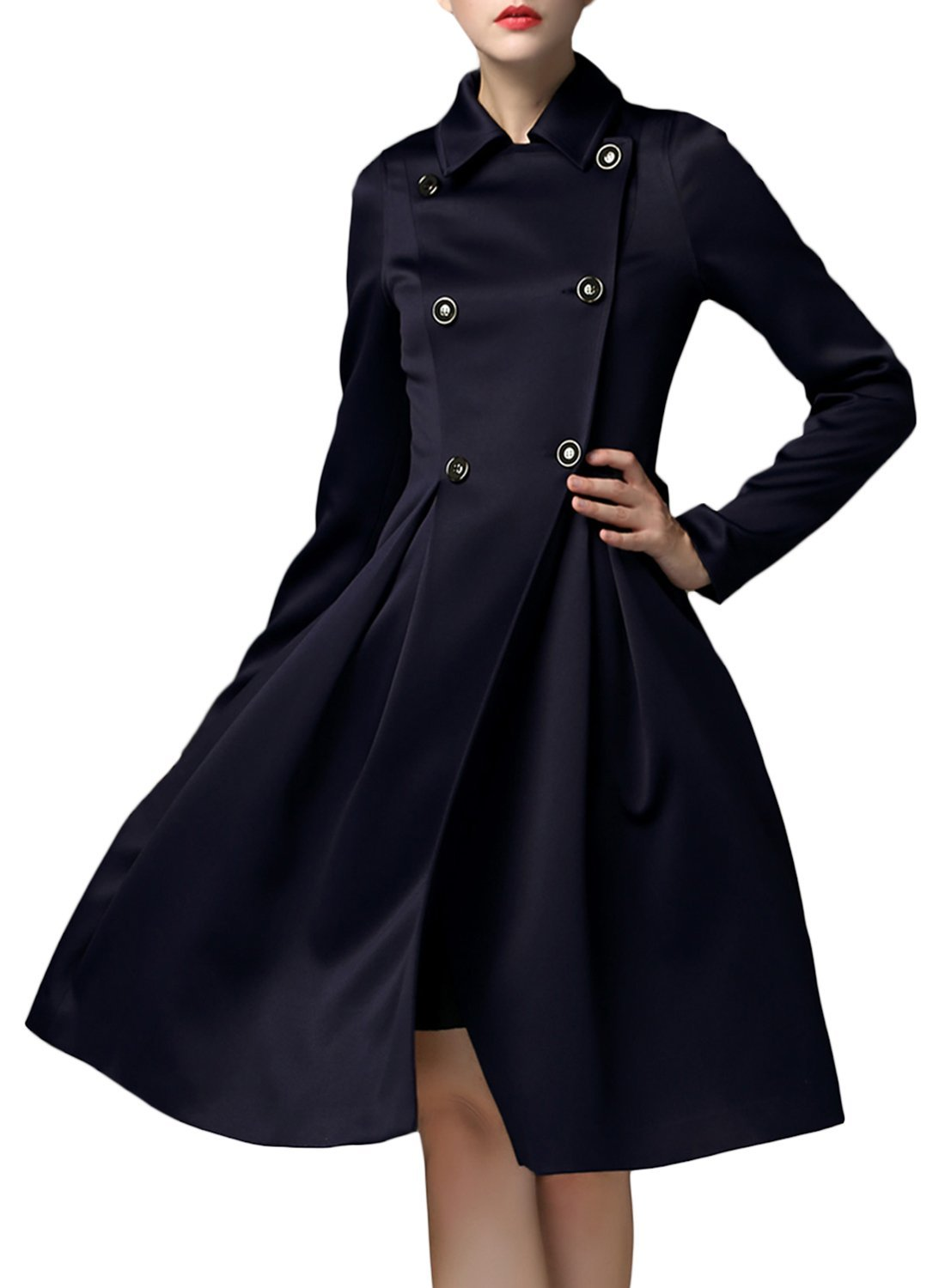 Double Breasted Slim Fit Trench Coat For Women - Azbro